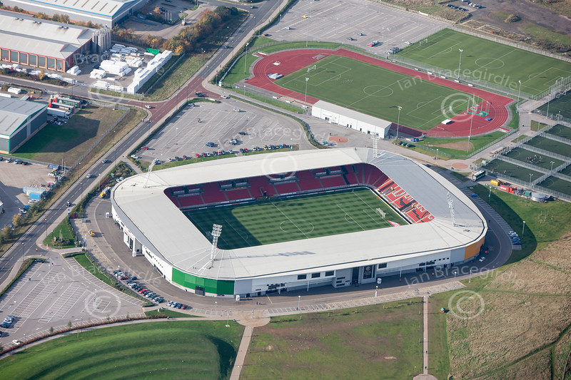 Aerial photo of Keepmoat Stadium in Doncaster.