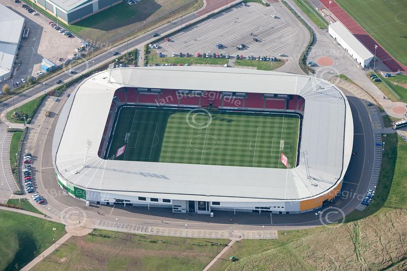 Aerial photo of Keepmoat Stadium.