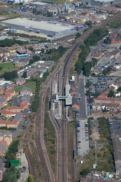 Grantham railway station from the air.