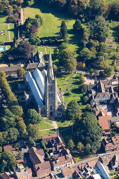 Aerial photo of St Wulfram's Church.