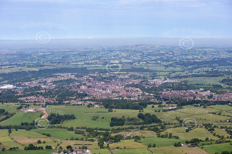 Aerial photo of Leek in Staffordshire.