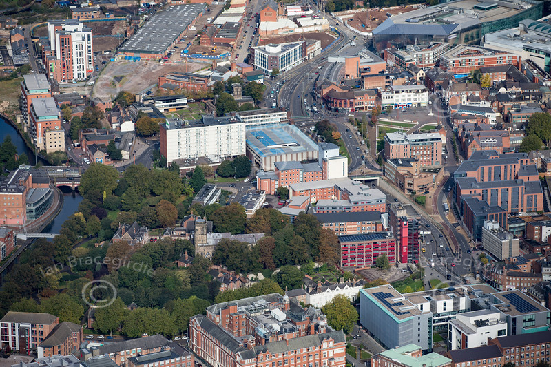 Aerial photo of St Mary De Castro Church in Leicester.