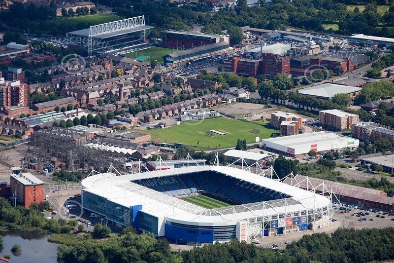 Leicester City Football Club from the air.