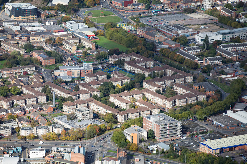 Aerial photo of Dysart Way in Leicester.
