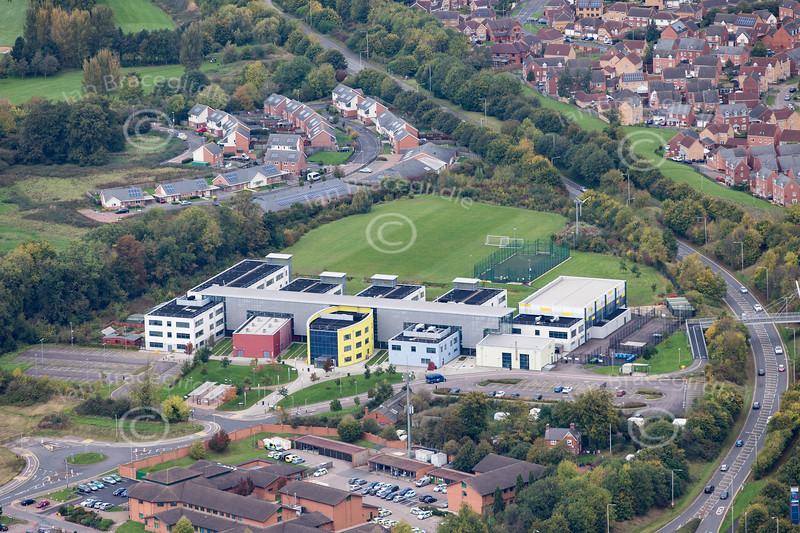 Aerial photo of Gateway College in Leicester.