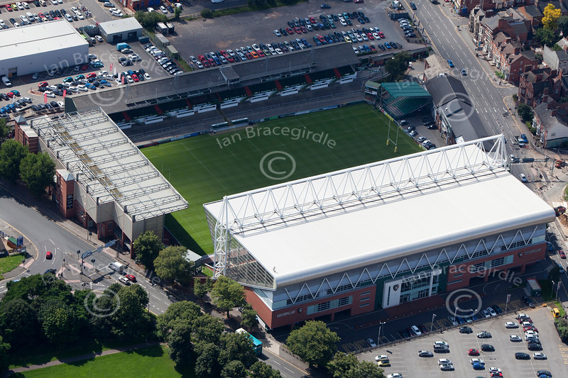 Aerial photo of Welford Road Stadium.