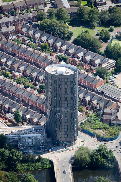 Aerial photo of student accommodation in Leicester.