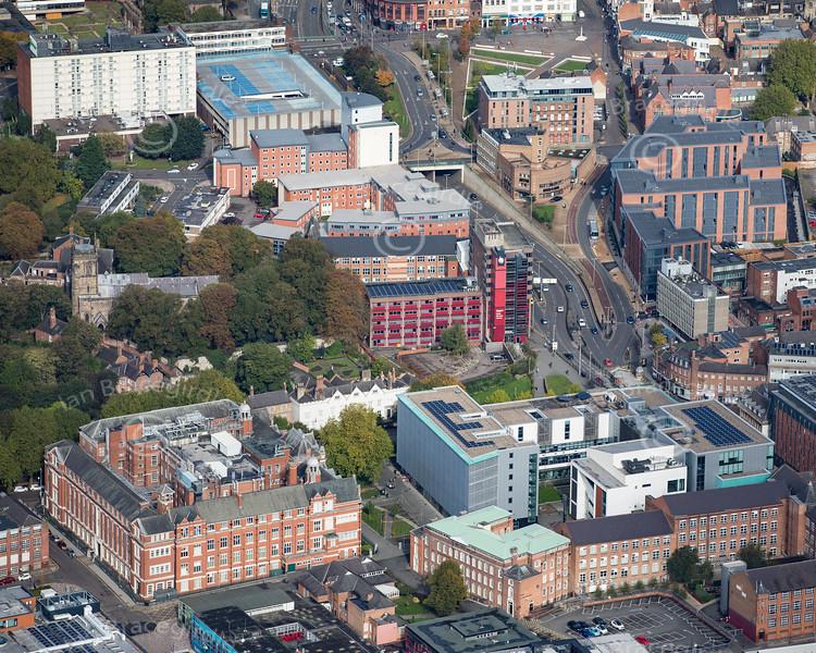 Aerial photo of De Montfort University.