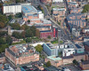 Aerial photo of De Montfort University.
