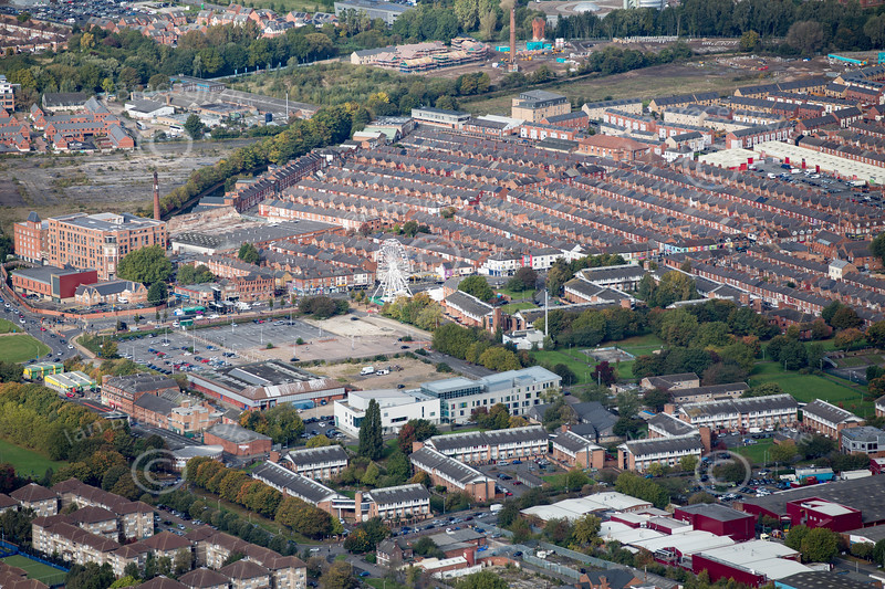 Aerial photo of Wolsey Island in Leicester.