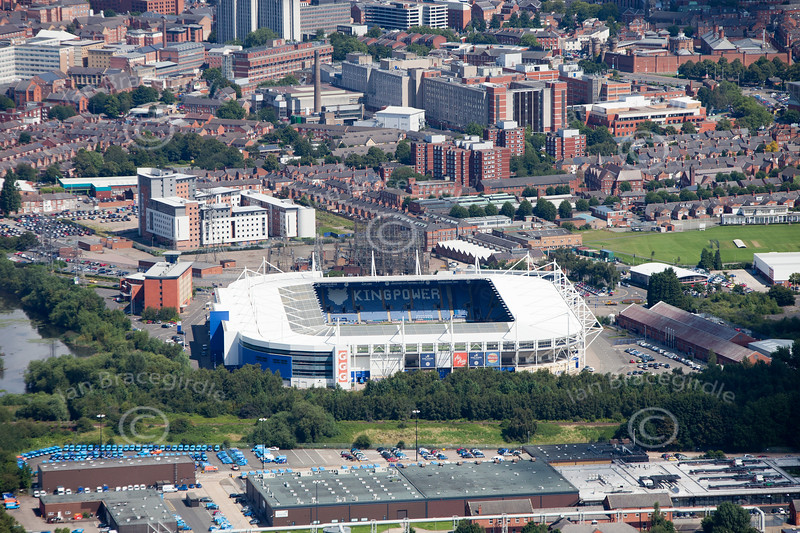 An aerial photo of the Kingpower Stadium.