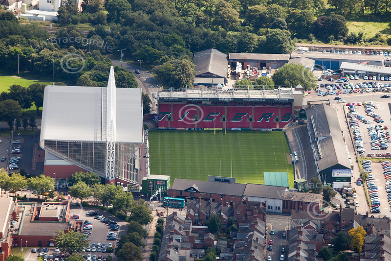 Aerial photo of Leicester Tigers Rugby Club.