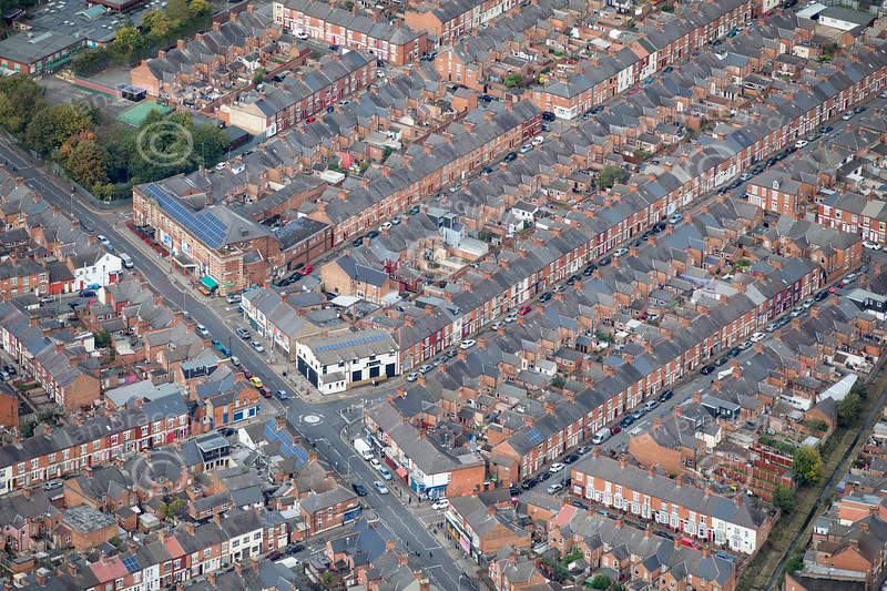 Aerial photo of Green Lane Road in Leicester.