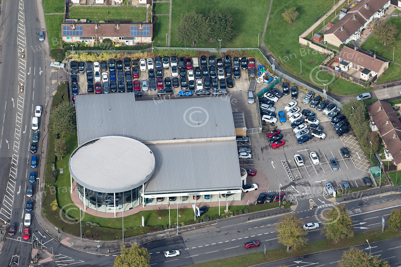 Aerial photo of Sturgess garage.