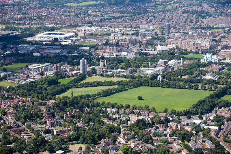 Aerial photo of Victoria Park in Leicester.