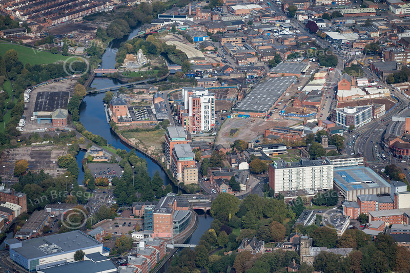 Aerial photo of the River Soar in  Leicester.