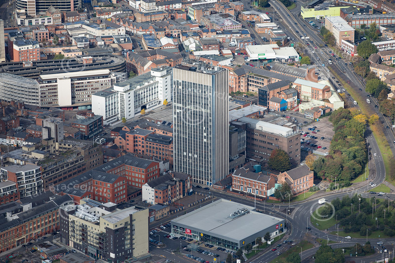 Aerial photo of Humberstone Road in  Leicester.