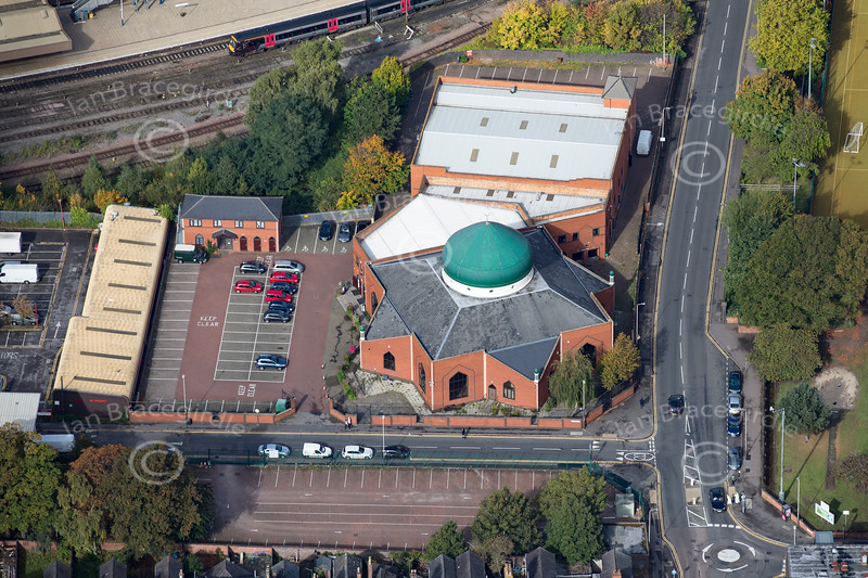 Aerial photo of Leicester Islamic Centre.