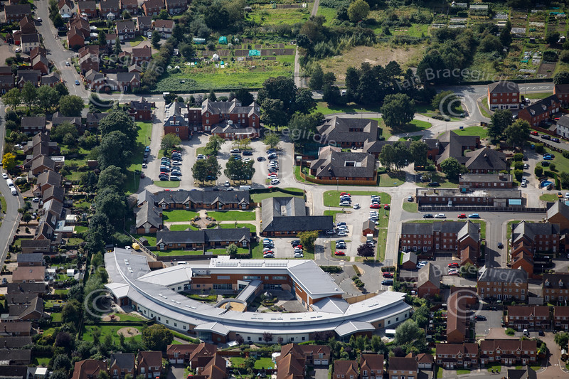 Aerial photo of St Georges Hospital.