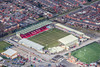 Sincil Bank football ground in Lincoln from the air.