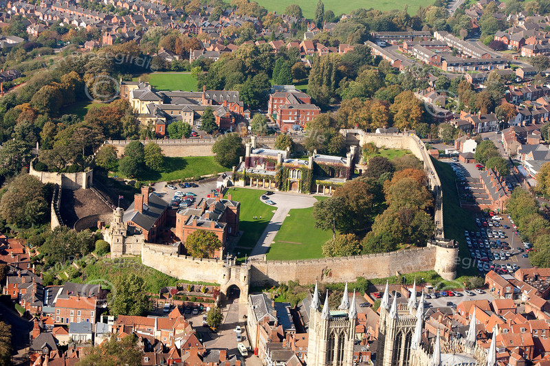 Lincoln Castle from the air.