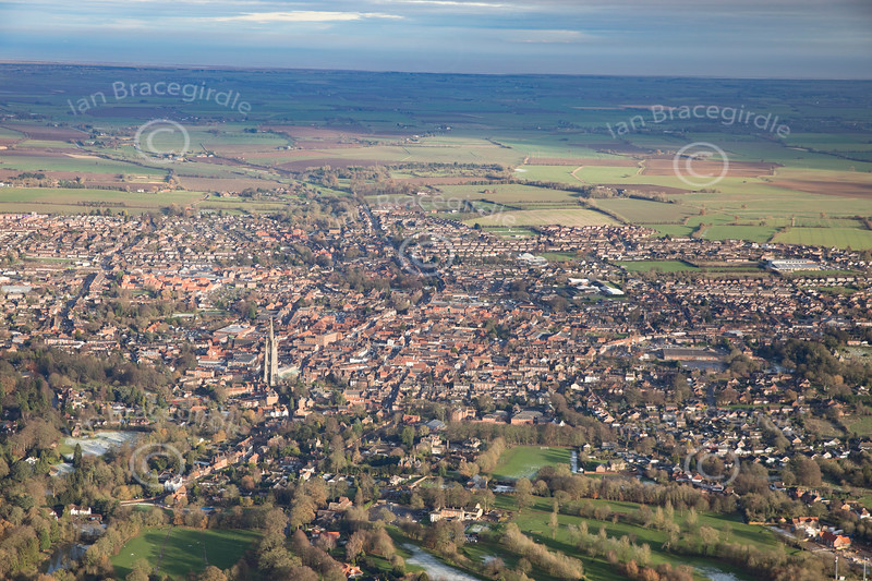 Aerial photo of Louth in Lincolnshire.