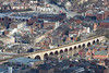 Mansfield railway arches from the air.