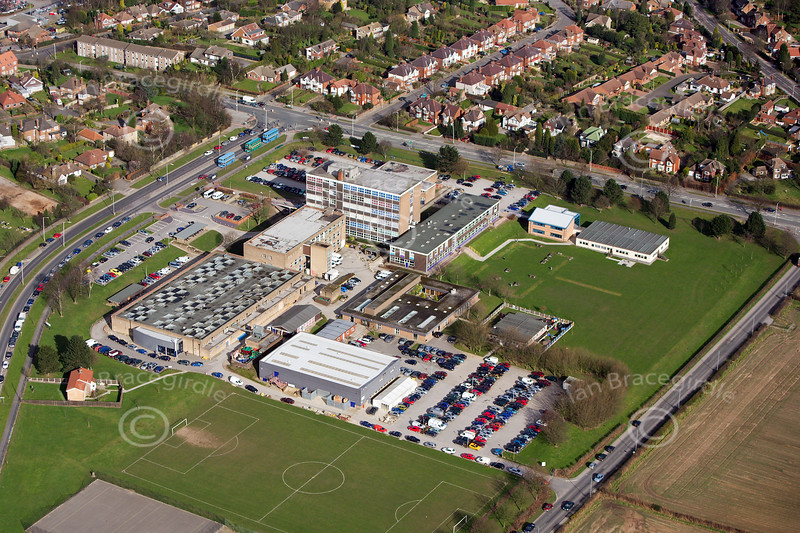 West Notts College in Mansfield in Nottinghamshire from the air.