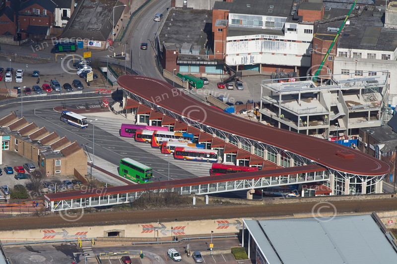 Mansfield bus station from the air.