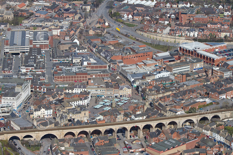 Mansfield Town Center from the air.
