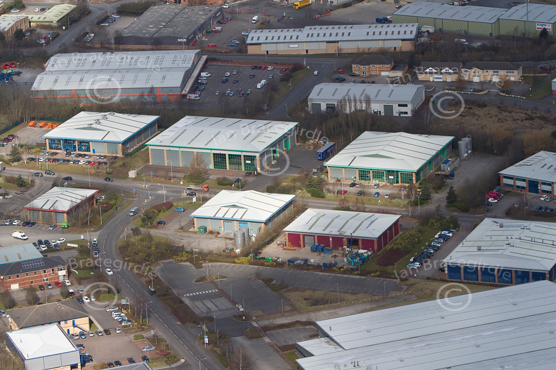 Hermitage Way Industrial estate from the air.