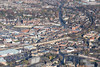 Mansfield town centre from the air.
