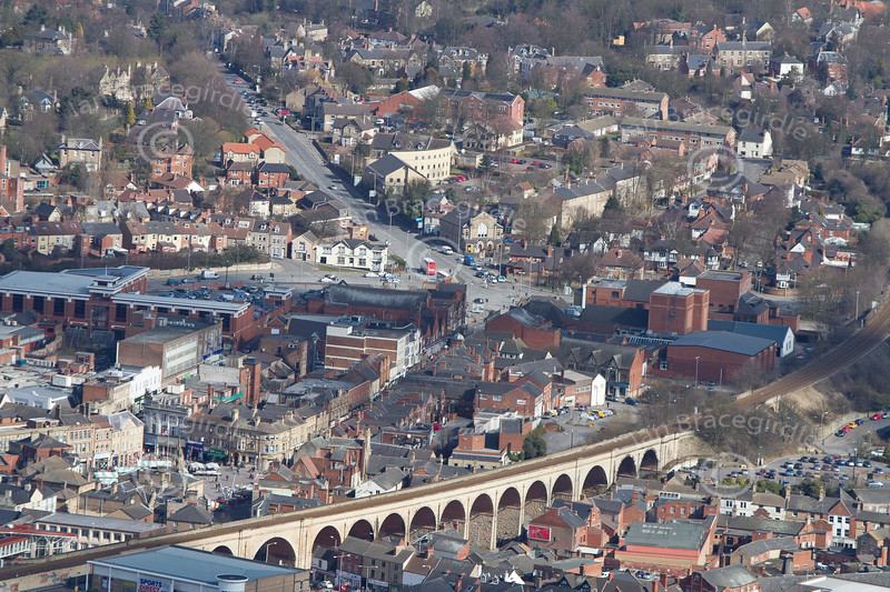 Mansfield in Nottinghamshire from the air.