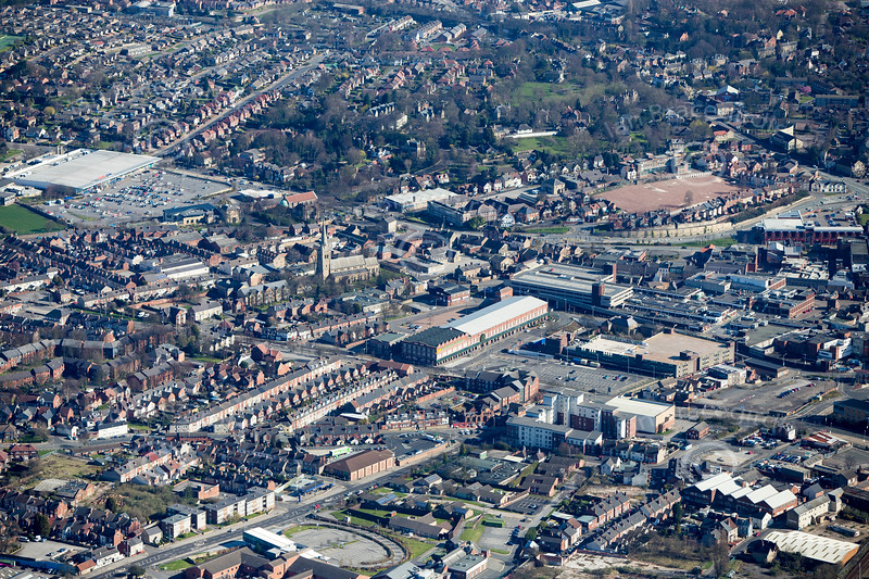 Rosemary Centre in Mansfield from the air.