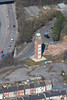 Clock tower in Mansfield Nottinghamshire from the air.