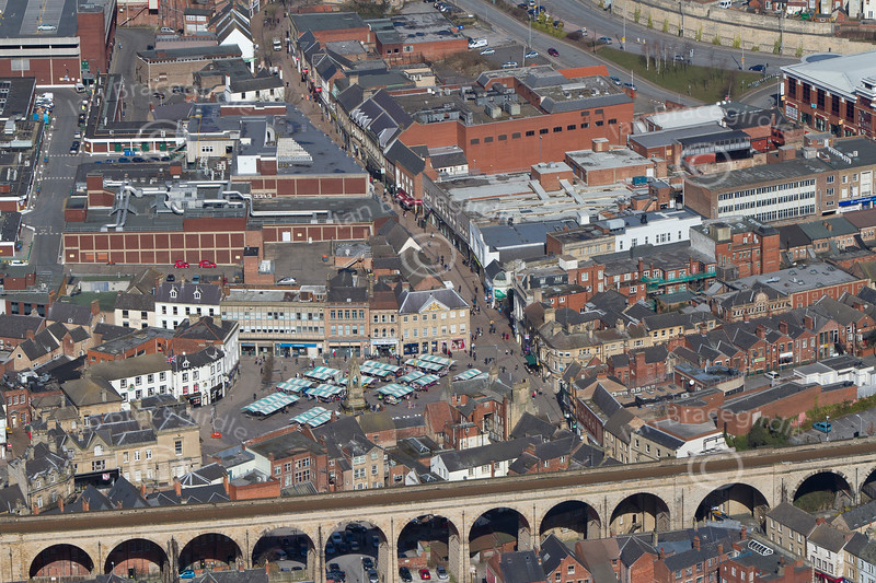 Mansfield Market Place from the air.