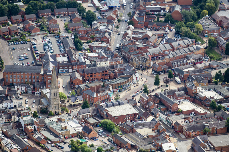 Aerial photo of Market Harborough in Leicestershire.