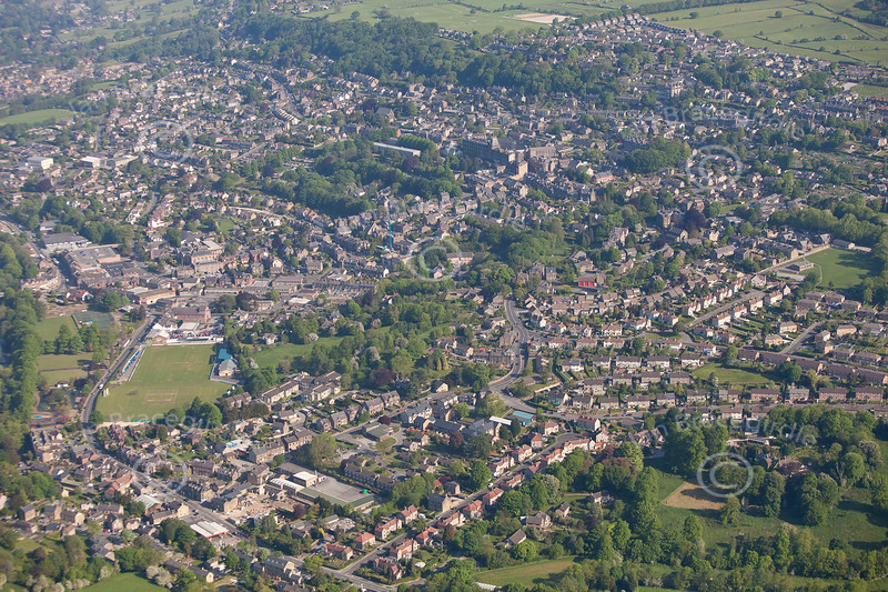 Aerial photography of Matlock in Derbyshire.