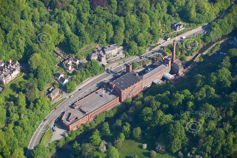An aerial photo of Sir Richard Arkwright's Masson Mills in Matlock Bath in Derbyshire. It is a cotton mill built in 1783