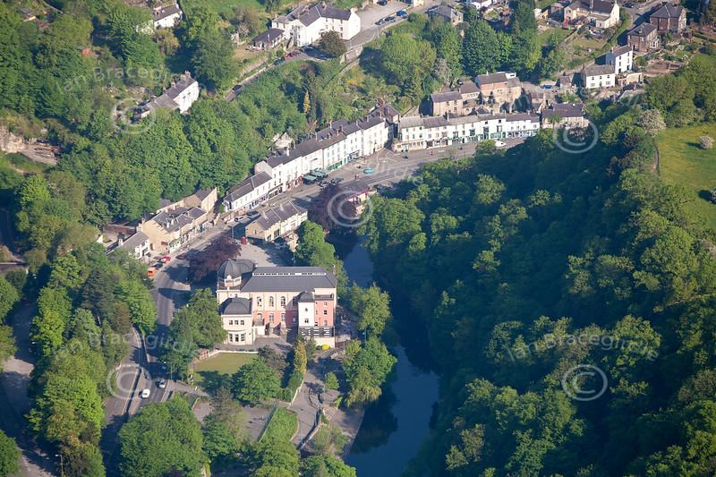 An aerial photo of Matlock Bath in Derbyshire.