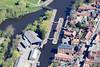 Aerial photo of Newark Town Lock in Nottinghamshire.