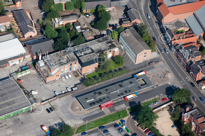 An aerial photo of the old bus station in Newark.