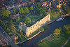 An aerial photo of Newark Castle in Nottinghamshire at sunset.
