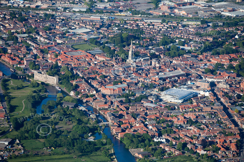 An aerial photo of Newark on Trent.