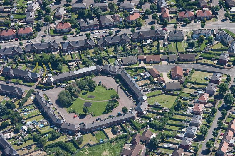 Aerial photo of Byron Close in Newark.