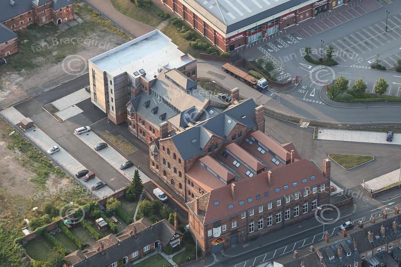 Aerial photo of the Maltings in Newark.