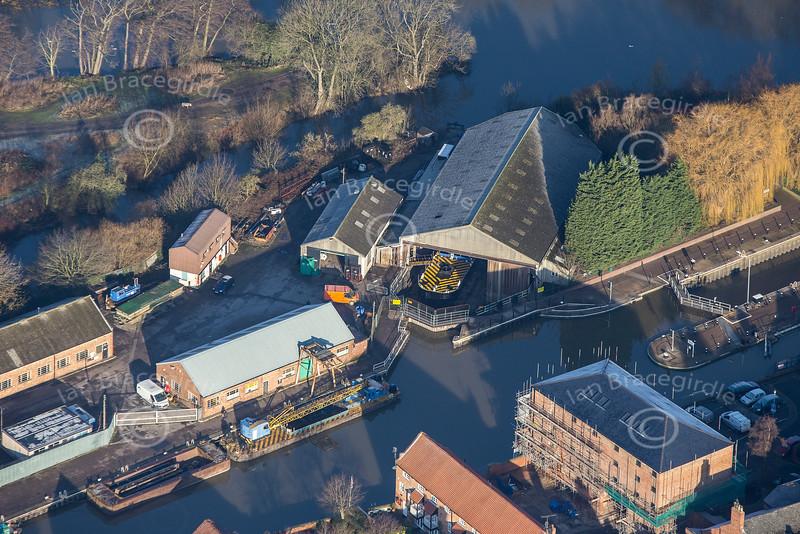 Aerial photo of a boat repair yard in Newark.