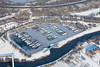 Aerial photo of Newark Marina in the snow.