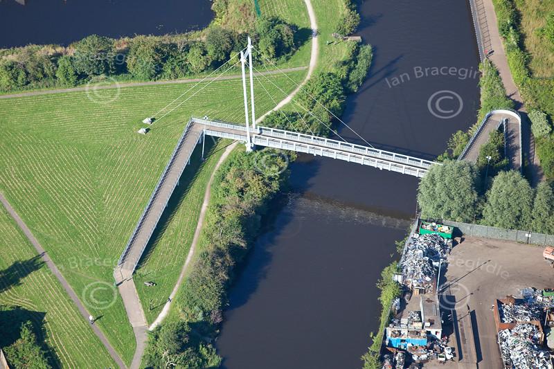 Aerial photo of the Millenium Bridge in Newark.