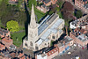 A stock aerial photo of The Parish Church in Newark on Trent in Nottinghamshire.